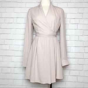 Lulu's Long Sleeve Blush Wrap Skater Dress